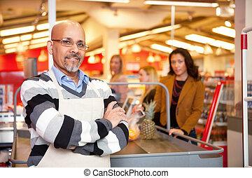 lebensmittelgeschäft, kassierer, kaufmannsladen