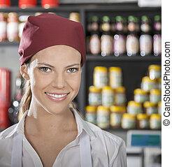 lebensmittelgeschäft, verkäuferin, junger, kaufmannsladen, glücklich