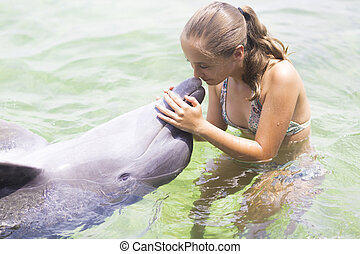lebensstil, delfin, urlaub, umarmen, teenager, -happy