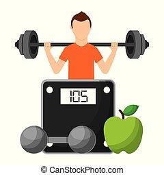 lebensstil, gesunde, sportler, wählen, früchte, hantel
