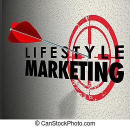 lebensstil, marketing, wörter, pfeil, schlagen, ziel, persönlich, interesse