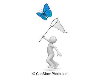 lebensstil, sammlung, -, fangen, papillon, mit, netz