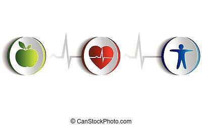 lebensstil, symbole, gesunde