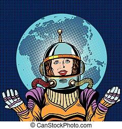 lebenssymbol, planet, astronaut, weibliche , erde