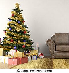 lebensunterhalt, baum, zimmer, weihnachten