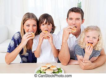 lebensunterhalt, essende, zimmer, familie, hungrig, burger