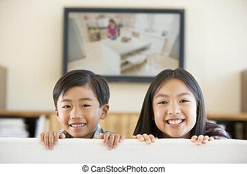 lebensunterhalt, fernsehen, zimmer, flacher schirm, zwei, junger, lächeln, kinder