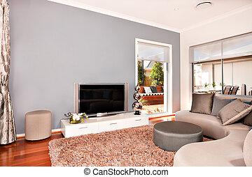 lebensunterhalt, fernsehen, zimmer, haus, modern, luxuriös, sofas, inneneinrichtung, runder