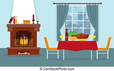 lebensunterhalt, furniture., zimmer, kaminofen