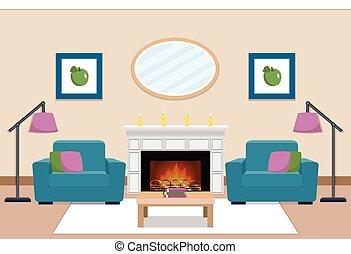 lebensunterhalt, illustration., vektor, inneneinrichtung, fireplace., zimmer