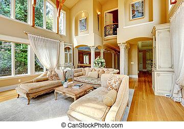 lebensunterhalt, interior., zimmer, luxus, haus