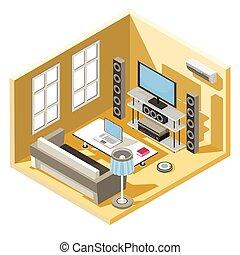 lebensunterhalt, isometrisch, zimmer, fernsehapparat, system, sofa, vektor, design, tisch