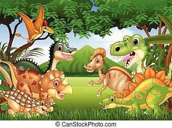 lebensunterhalt, karikatur, glücklich, dschungel, dinosaurier