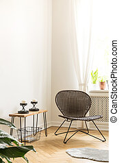 lebensunterhalt, satz, zimmer, wand, kerzen, modern, nächste, träger, ort, interior., painting/graphic/poster, ecke, stuhl, tisch, dein