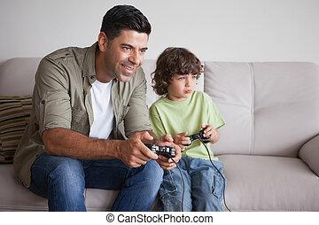 lebensunterhalt, videospiele, vater, sohn, spielende , zimmer