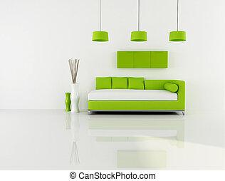 lebensunterhalt, weißes, grün, zimmer