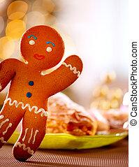 lebkuchen, man., weihnachtsurlaub, lebensmittel
