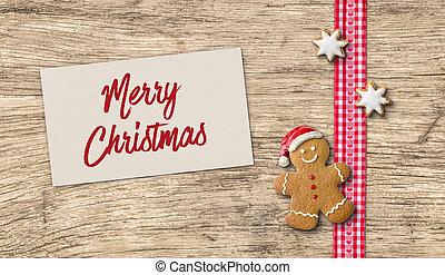 lebkuchen mann, mit, weihnachtskarte
