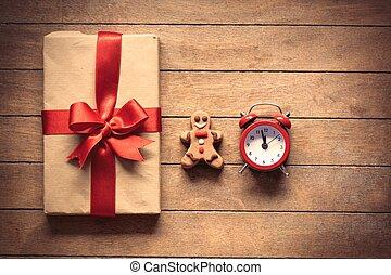 lebkuchen mann, und, weihnachtsgeschenk, kasten, mit, wecker