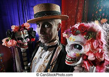 lebky, dvojice, charakter, horký, hrůzný, seno, flowers., ozdobený, klobouk
