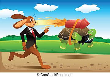 lebre, correndo, tartaruga