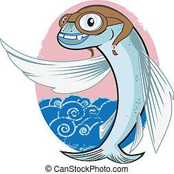 lecąc ryba, lotnik
