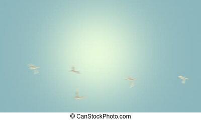 lecące ptaszki, pętla, z, alfa, kamień