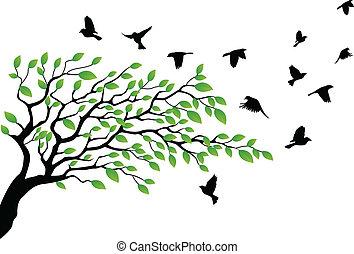 lecący ptaszek, sylwetka, drzewo