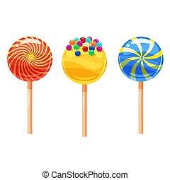 lecca lecca, set, colorito, illustrazione, caramelle, stile, vettore, dolce, cartone animato