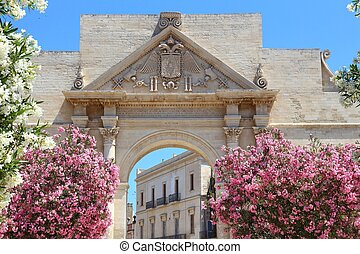 Lecce, Italy - city in Salento peninsula. Oleander flowers ...