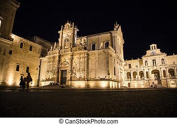 Night view of the Piazza del Duomo in Lecce in Puglia Italy