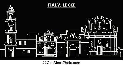 Lecce silhouette skyline. Italy - Lecce vector city, italian linear architecture, buildings. Lecce travel illustration, outline landmarks. Italy flat icons, italian line banner