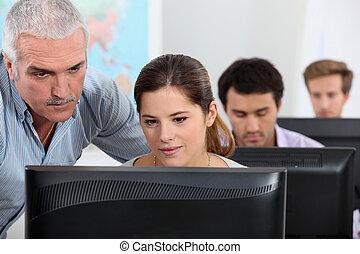 lección, computadora
