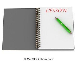 lección, cuaderno, palabra, página
