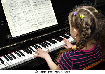 lección música, piano, juegos, niño