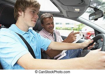 lección, niño, adolescente, toma, conducción