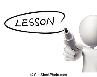 lección, palabra, escrito, por, 3d, hombre
