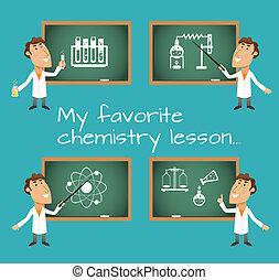 lección, química, pizarras