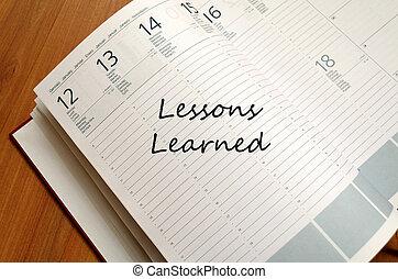 lecciones, aprendido, concepto