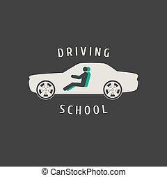 lecciones, escuela, concepto, silueta, conducción, ilustración, señal, automóvil, emblem., vector, diseño, logotipo, coche, automóvil, insignia, element., publicidad