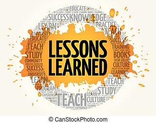 lecciones, nube, aprendido, palabra