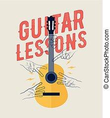 lecciones, template., illustration., vector, bandera, perfecto, diseñar, classes., vendimia, guitarra, aviador, su, cartel