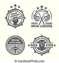 lecciones, vector, o, emblemas, vendimia, escuela, tambor