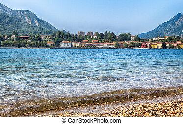 Lecco town at lake Como