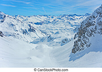 Lech Zurs ski resort, Arlberg, Tyrol, Austria - View of the...