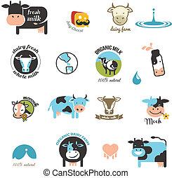 leche, etiquetas, elementos, y, iconos
