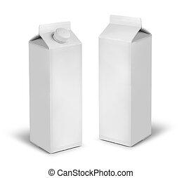 leche, jugo, latas, blanco, cartón, o