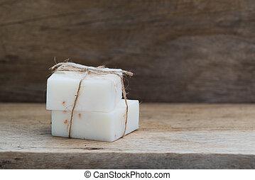 leche, plano de fondo, de madera, hechaa mano, cima, jabón, ...