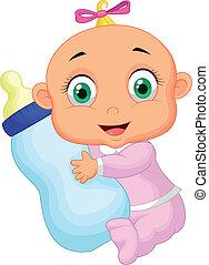 leche, teniendo bebé, niña, bott, caricatura