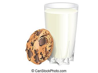 leche, y, galleta